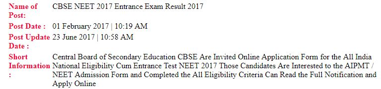CBSE NEET 2017 Intrance Exam Result
