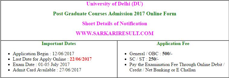 Delhi University DU PG Entrance Exam Admit Card 2017
