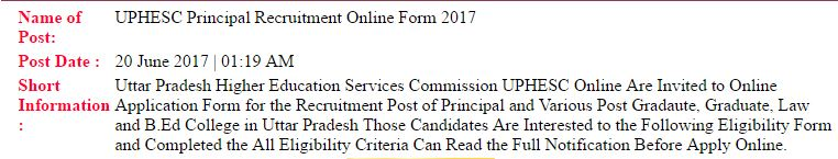 UPHESC Principal Recruitment Online Form 2017