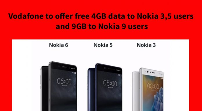 Vodafone to offer free 4GB data to Nokia 3,5 users and 9GB to Nokia 9 users
