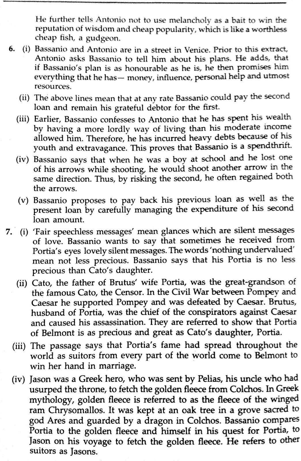 Workbook Answers/ Solutions in The Merchant of Venice, Act 1 Scene 1