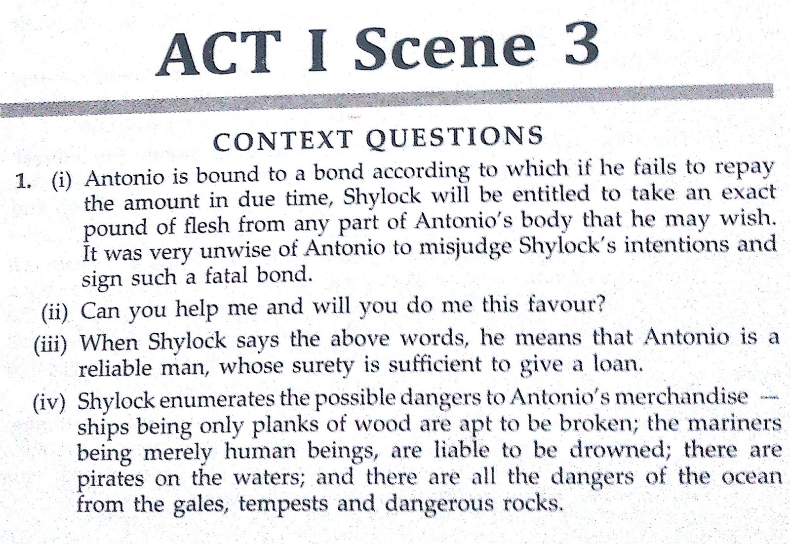 Workbook Answers/ Solutions in The Merchant of Venice, Act 1 Scene 3