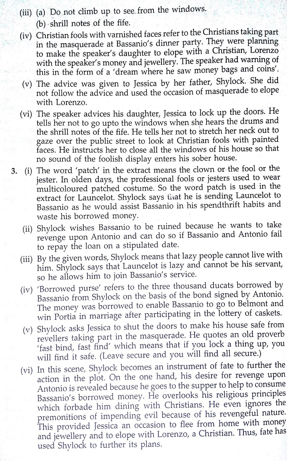 Workbook Answers/ Solutions of The Merchant of Venice, Act 2 Scene 5