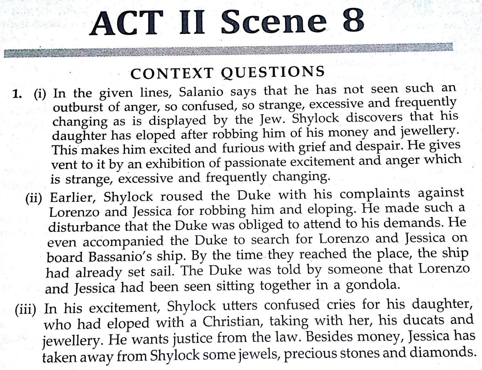 Workbook Answers/ Solutions of The Merchant of Venice, Act 2 Scene 8