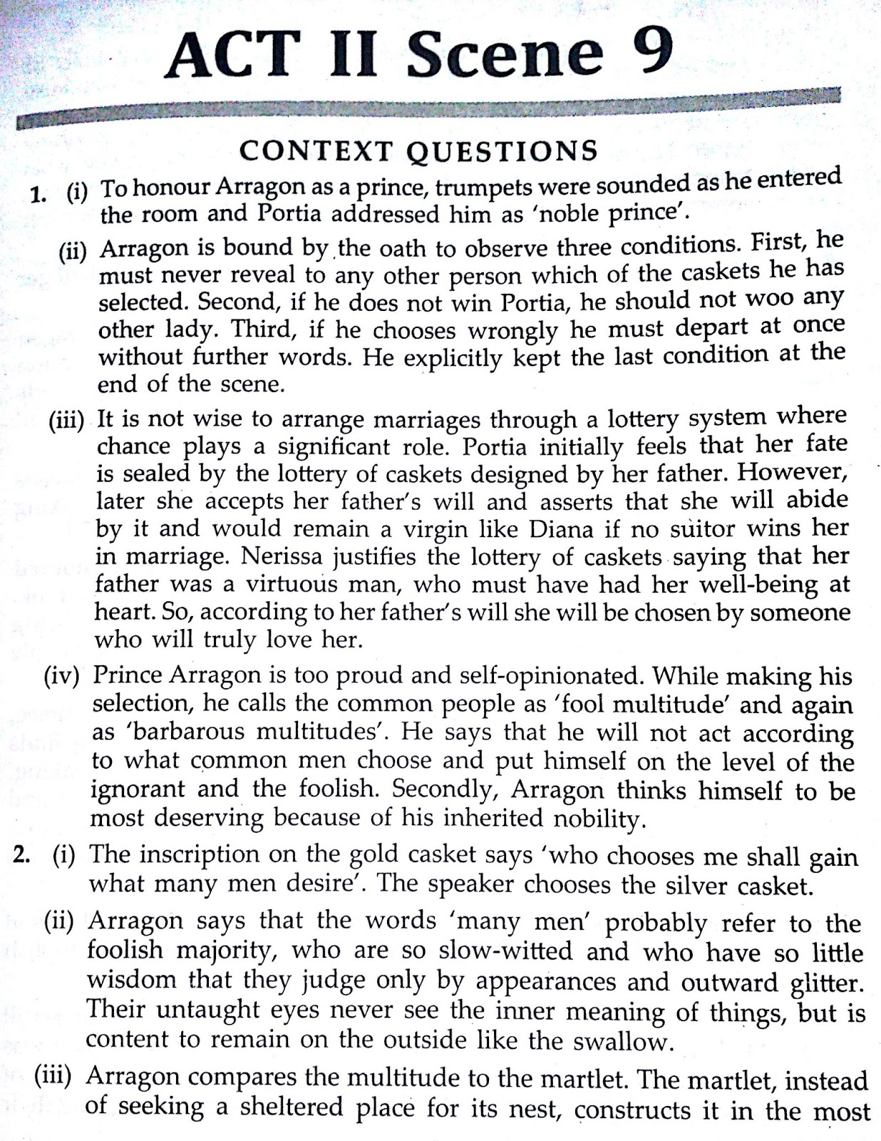 Workbook Answers/ Solutions of The Merchant of Venice, Act 2 Scene 9