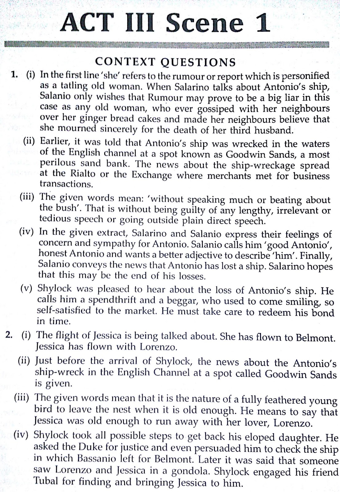 Workbook Answers/ Solutions of The Merchant of Venice, Act 3 Scene 1