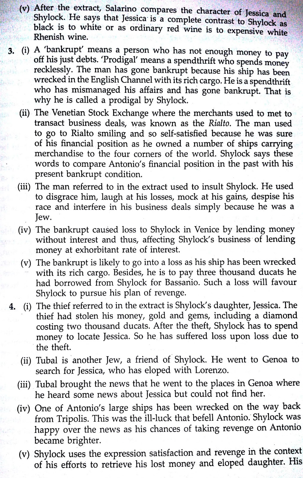 Workbook Answers/Solutions of The Merchant of Venice, Act 3 Scene 1