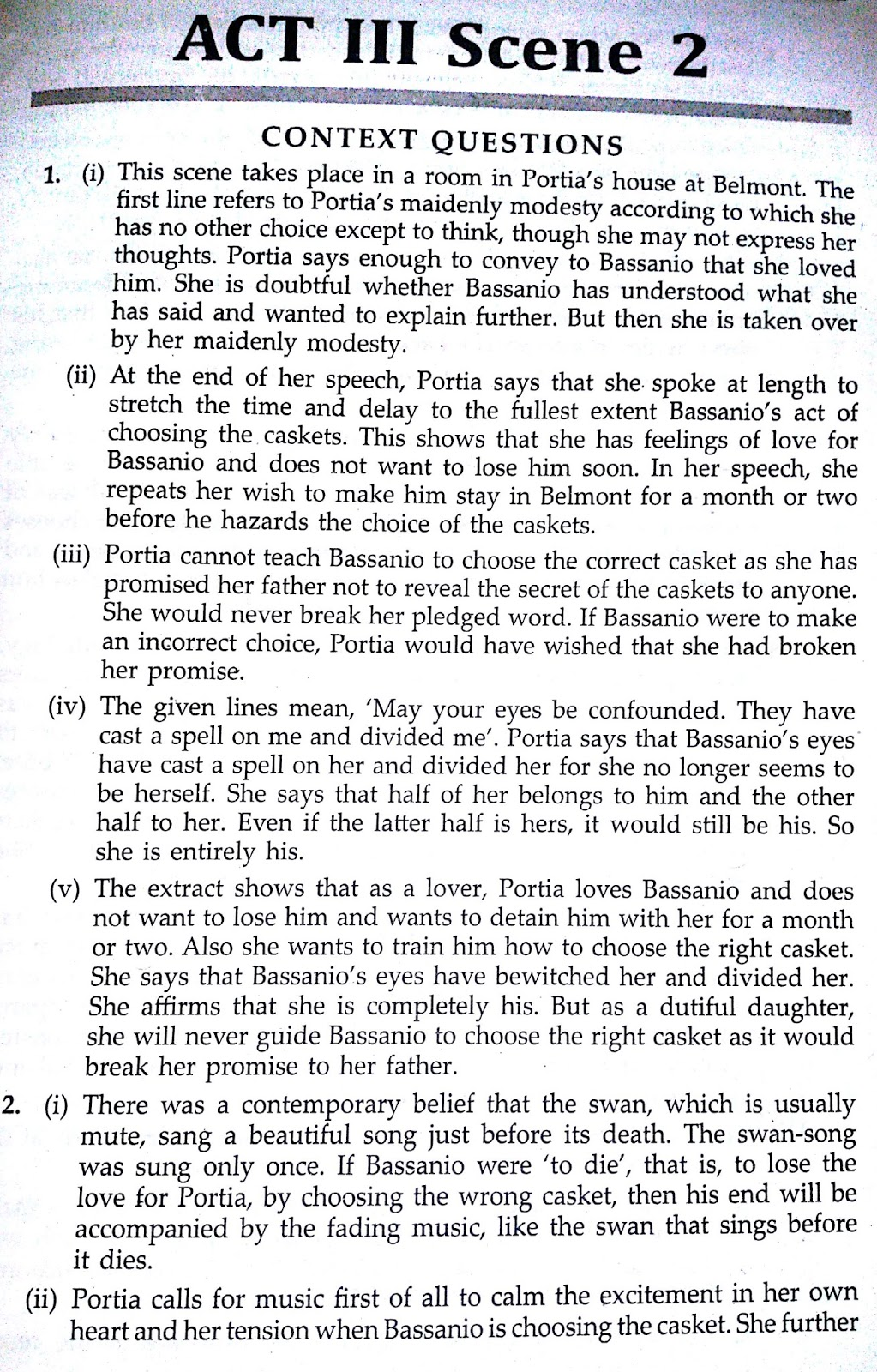 Workbook Answers/ Solutions of The Merchant of Venice, Act 3 Scene 2
