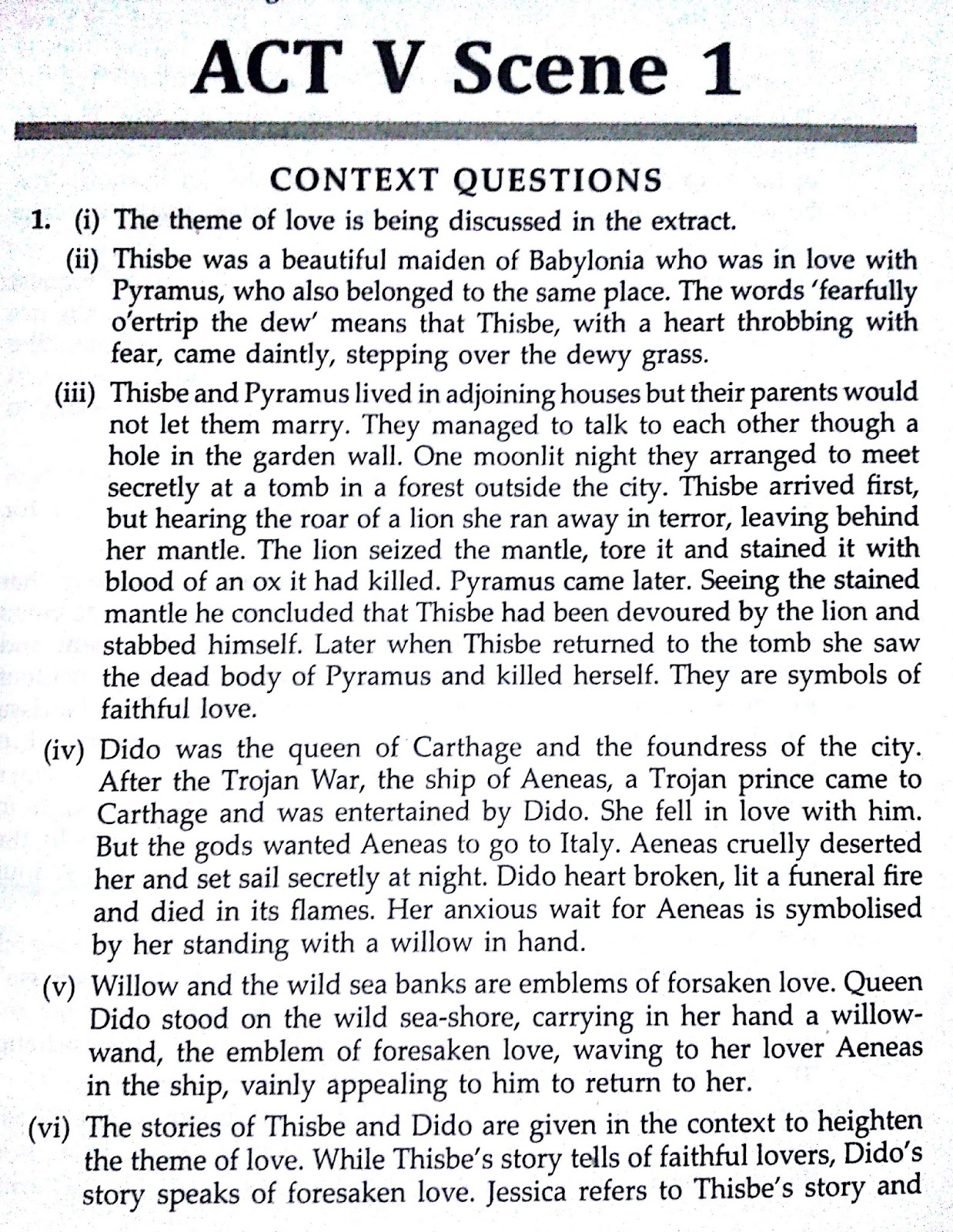 Workbook Answers/ Solutions to the Merchant of Venice, ACT 5 Scene 1