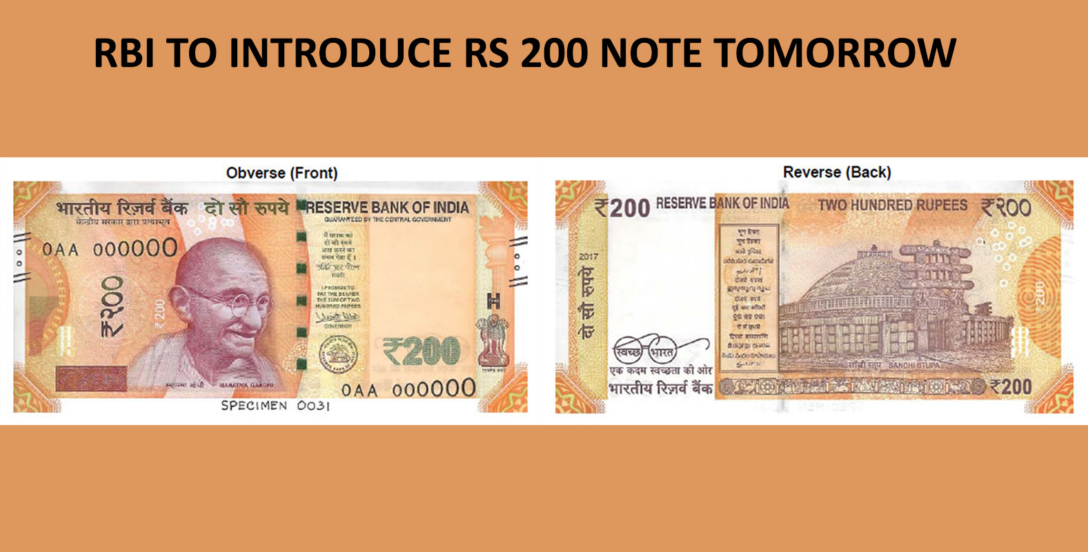 RBI to Introduce Rs 200 Note Tomorrow